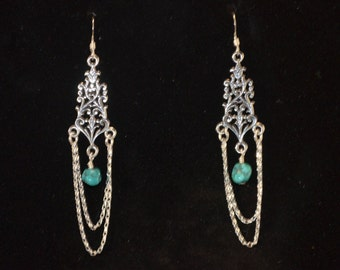 Earrings, Sterling silver and genuine turquoise chandelier earrings