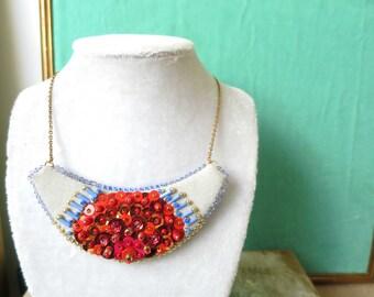 Necklace Plastron Nicte / Flor red & blue