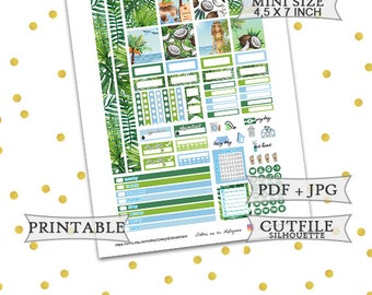 Summer Paradise Mini Happy Planner Stickers/Printable Planner Stickers/Tropical Happy Planner Stickers/Summer Weekly kit/Tropical Weekly kit
