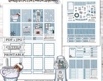 Winter Chill Planner Stickers/Printable Planner Stickers/Planner Stickers for Erin Condren Lifeplanner/Winter weekly kit/Christmas Stickers