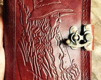Wizard Leather Journal, Blank leather journal, Leather bound journal with wizard