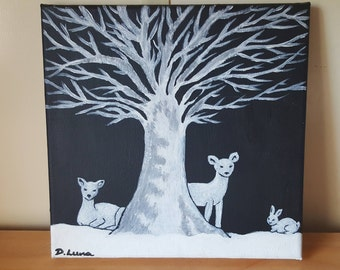 Winter Woods Acrylic Painting Canvas, Wildlife, Nature, Gift, Decor