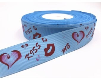 """1"""" Hearts and Kisses Grosgrain Ribbon by the Yard   AL37"""