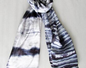 Shibori Silk scarf Neck scarf Summer scarf Bridesmaid gift Shibori scarf Boho chic Small gift Birthday gift Fashion scarf INDI 0219