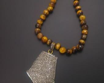 Pave Diamond Silver Pendant Necklace- 925 Sterling Silver - Closly Setted Diamonds - Pave diamond pendant - Pave Necklace - Diamond Jewelry