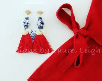 RED Ginger Jar Earrings   Statement Earrings, fringe, tassels, dangle, drop, lightweight, blue and white, chinoiserie, posts