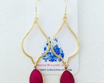 GOLD and HOT PINK Earrings | lightweight, gemstone, statement earrings, marquis, teardrop, dangle, drop, one of a kind