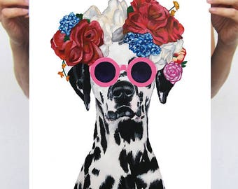Dalmatian illustration, frida kahlo print,  from original painting by Coco de Paris: Dalmatian with flowers