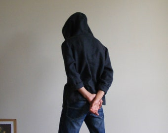 Men's Linen Hoodie in Charcoal Gray, Hooded Linen Shirt, Hooded Long Sleeve Shirt