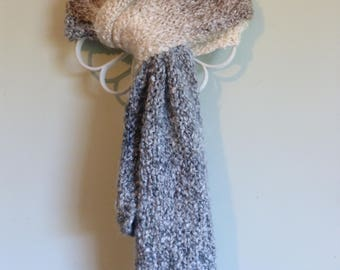 Handmade straight knit chunky scarf composed of beautifully striped taupe, blue, and off-white.  Free domestic USPS priority shipping!!