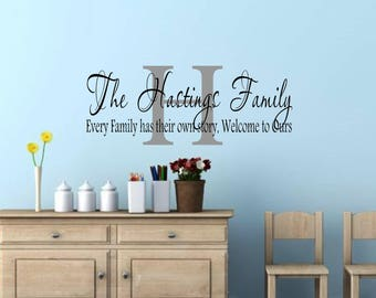 Personalized Family Name Wall Decal Family Wall Sign Wall Decal Quotes Removable  Wall