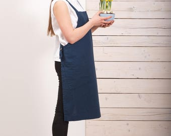 Linen Pinafore Apron - Dark blue apron - Linen long crossback apron - Short square cross linen apron