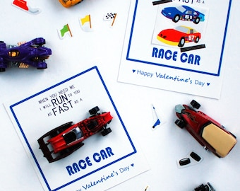 FREE Printable - Valentine's Day Card - Race Car Theme - PDF instant download