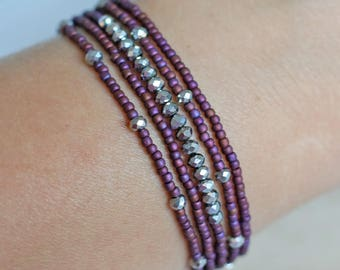 bead bracelet, 5 small bead bracelet set, maroon bead bracelet, silver bead bracelet, stretch bracelet, layer bracelet, stacking bracelet