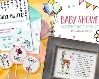 Watercolor Clip Art - Baby Shower- Personal Use- Instant Download- Kite- Elephant- Giraffe- Hearts- Gifts - Bundle of Joy- Arc- Balloon