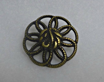 6 metal buttons - antique gold - 22mm