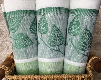 Kitchen Linen towel Washcloth Birch leaf Jacquard Tea Bright Green Woven linens Flax Linen Natural Cotton Towel Home Decor Motherd Day Gift