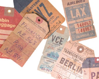 Vintage Luggage Tag Ephemera, Kraft Ephemera - PJ305
