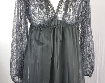 Undercover Wear Womens Peignoir Set Nightgown Robe Vtg Lace Slinky Black Long M