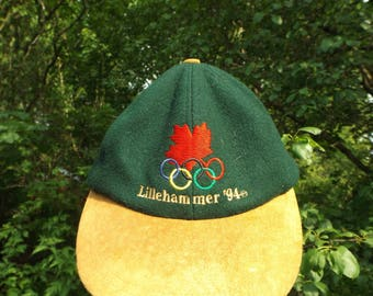 Olympic Hat, 1994 Lillehammer Olympics, Winter Olympics, Collectable Olympics, Dad Hat, 90s Hat, Plaid Hat, Leather Strap Hat, 90s Clothing