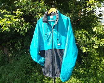 Kway Jacket 90s Windbreaker, Oversized Jacket, Windbreaker K Way, Vintage Kway XL, Teal Blue Kway, 90s Windbreaker, 80s Windbreaker, Vintage