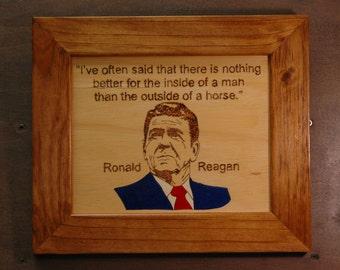 Ronald Reagan Wood Burning