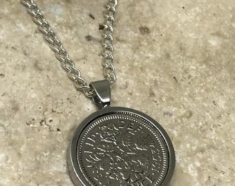 1953 65th birthday Lucky sixpence coin pendant necklace -SILVER PLATED