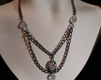 Vintage antique silver plated brass chain with crystal and matching pierced earring