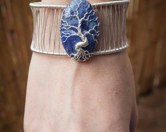 Sodalite Tree Bracelet - Gemstone jewelry - Semi-precious - Crystal -  Handmade bracelet - Mother gift - Unique jewelry - Tree of life