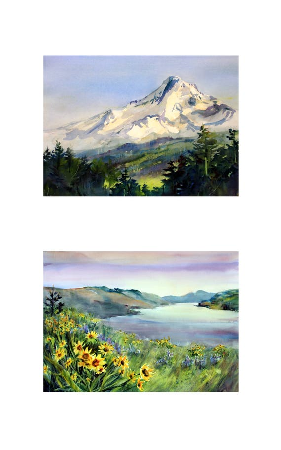 10x16 - 2 matted and or framed watercolor prints of Mt. Hood and the Columbia Gorge
