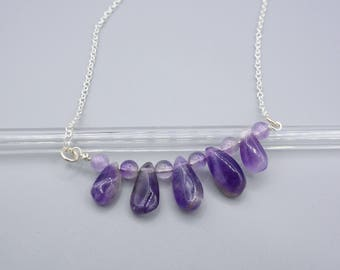 Natural Amethyst Bar Necklace, February Birthstone Necklace, Drop Stone Necklace, Gemstone Bar Necklace, Layering Necklace