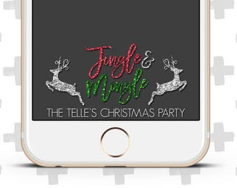 Custom Snapchat Filter for Christmas Party, Holiday Party, Christmas Lights, It's Lit, Jingle and Mingle, Jingle Jangle