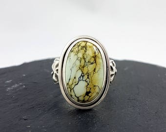 LaoOne * Sterling Silver Ring * with a beautiful milky mint/orange Variscite