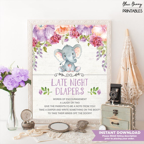 Girl Elephant Late Night Diaper Sign Purple Floral Baby Shower