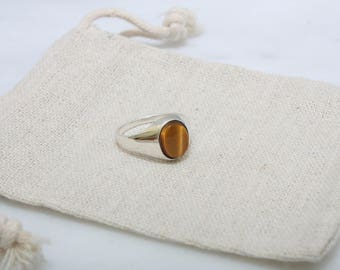 Tiger's Eye Ring - Sterling Silver Ring, Silver Signet Ring, Women's Ring, Tiger's Eye Signet, Gift for Her, Minimalist Ring, Statement Ring
