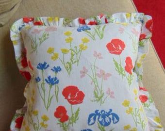 Laura Ashley Cushion Seat Pad 'Midsummer' Floral Flowers 1983