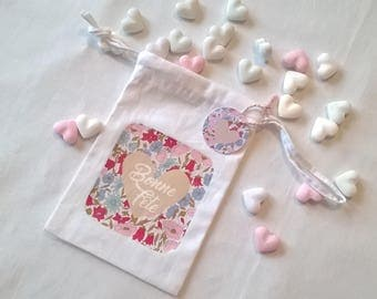 Mini bag fabric party of the great mother's Day heart, personalized Inscription Liberty, 15 x 9.5 cm