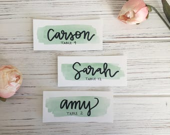 Watercolor Wedding Place Settings, Name and Table Number, Table Numbers, Place Cards, Place Settings, Calligraphy Hand-Lettered Tiles
