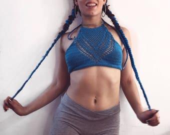 Crochet crop top Summer top Festival top Crochet bikini top Halter top Gift for her Cotton top Summer style
