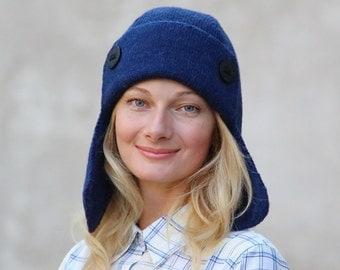Ear flaps hat alpaca wool hat navy blue hat winter hat womens beanie women alpaca hat hand knitted hat unisex hat blue cap wool cap warm hat