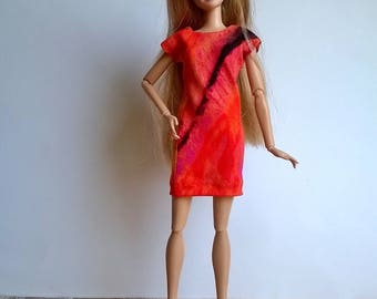 Barbie dress in black with interesting pattern, orange / pink