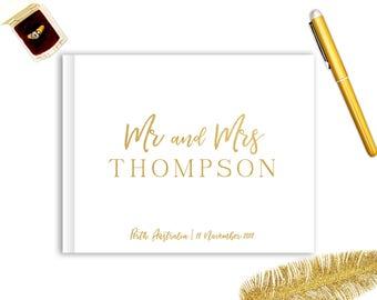 Real Gold Foil Wedding Guest Book Landscape Horizontal Gold Foil Guest Books Custom Guestbook Modern Wedding Script Wedding - Title Script