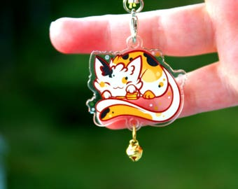 Coin the Lucky Cat - Nekomata Two Tail Acrylic Charm 1.5 Doublesided Calico Keychain Cellphone Strap