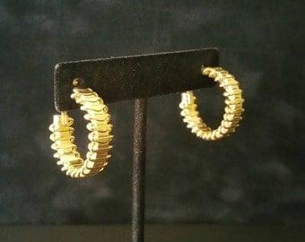 Vintage SARAH Earrings, Hoop Sarah Coventry Earrings, Sarah Hoop, Sarah Cov Earrings, Clip On Earrings, Gold Tone (E-ER-252)6pt
