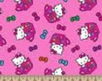 "Hello Kitty tossed tea cups in pink flannel by Springs Creative, 43"" wide, 100% cotton, by the half yard, hello kitty fabric, cartoon fabric"
