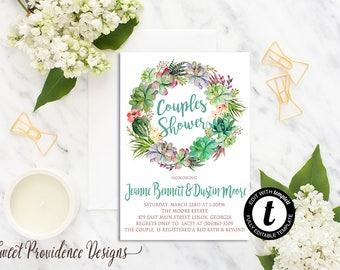 Succulent Couples Shower Invitation, Succulent Shower Invitation, Couples Shower, Watercolor Wreath Invite, EDITABLE, Instant Download
