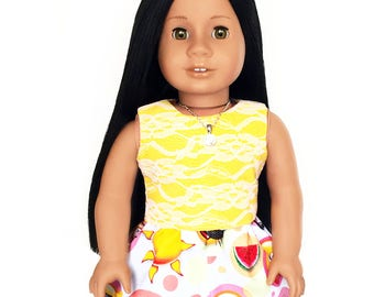 Tank Top, Reversible, Lace, Yellow, White, American, 18 inch Doll Clothes, Summer