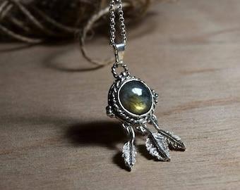 ON SALE Dreamcatcher necklace- labradorite