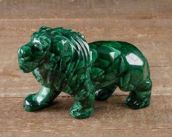 4.3 inch MALACHITE Lion Stone Carving - Malachite Carving, Malachite, Lion Figurine, Malachite Crystal, Lion Sculpture 36724