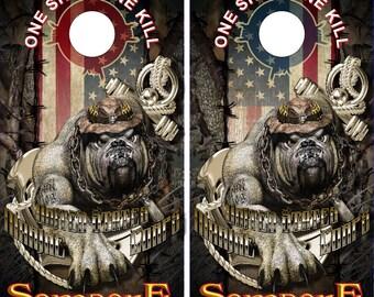 Wicked Wire American Marine Dog Camo Cornhole Wrap Bag Toss Decal Baggo Skin Sticker Wraps